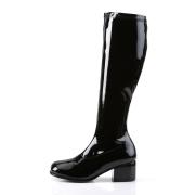 Sorte laklæder støvler blokhæl 5 cm - 70 erne hippie disco boots knæhøje - patent læder støvler