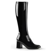 Sorte laklæder støvler blokhæl 7,5 cm - 70 erne hippie disco boots knæhøje - patent læder støvler