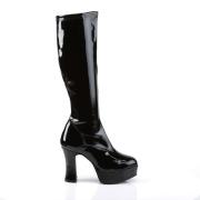 Sorte plateaustøvler laklæder patent 10 cm - 70 erne hippie disco plateauboots knæhøje