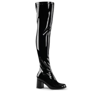 Sorte vinyl lårlange støvler 7,5 cm - 70 erne hippie disco gogo lårlange boots