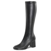 Sorte vinyl støvler blokhæl 7,5 cm - 70 erne hippie disco gogo knæhøje boots