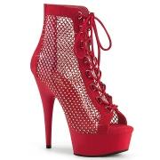 Strass mesh plateauboots 15 cm DELIGHT boots med snørebånd i rød
