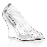 Strass sten 10,5 cm LOVELY-420RS Wedge Pumps med Kilehæle