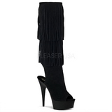 Suede 15 cm DELIGHT-2019 womens fringe boots with high heels