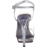 Transparent 13 cm LIP-108R poserer sko - bikini fitness konkurrence høje hæle