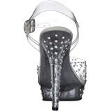 Transparent 13 cm LIP-108RS poserer sko - bikini fitness konkurrence høje hæle