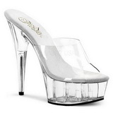 Transparent 15,5 cm Pleaser DELIGHT-601 Platform Mules Shoes