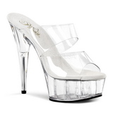 Transparent 15,5 cm Pleaser DELIGHT-602 Platform Mules Shoes