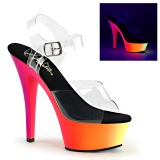 Transparent 15,5 cm RAINBOW-208UV High Heeled Sandal Neon Platform
