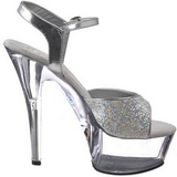 Transparent 15 cm KISS-210 High Heels Glitter Platform