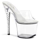 Transparent 18 cm DIAMOND-701 Women Mules Rhinestone Heels