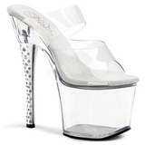 Transparent 18 cm DIAMOND-702 Platform High Heel Mules Rhinestone
