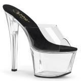 Transparent 18 cm PLEASER SKY-301-2 Platform Mules Shoes