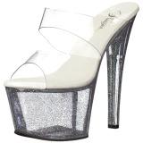 Transparent 18 cm SKY-302MG glitter platform mules womens