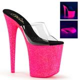 Transparent FLAMINGO-801UVG 20 cm Neon Platform Mules Shoes