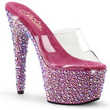 Transparent Pink 18 cm BEJEWELED-701MS Strass Platform Mules