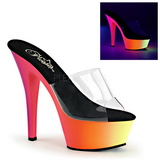 Transparent RAINBOW-201UV 15,5 cm Neon Platform Mules Shoes