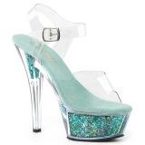 Turkisblå 15 cm KISS-208GF glitter plateau sandaler sko