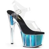 Turkisblå 18 cm ADORE-708HGI Hologram plateau high heels sko