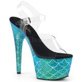 Turkisblå 18 cm ADORE-708MSLG glitter plateau sandaler sko