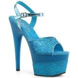 Turkisblå 18 cm ADORE-709-2G glitter plateau sandaler sko