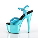Turkisblå 18 cm ADORE-709HGCH Hologram plateau high heels sko