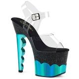 Turkisblå 18 cm SCALLOP-708-2HGM Hologram plateau high heels sko