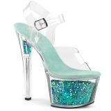 Turkisblå 18 cm SKY-308GF glitter plateau sandaler sko