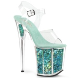 Turkisblå 20 cm FLAMINGO-808GF glitter plateau high heels sko