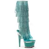 Turkisblå Strass 16,5 cm ILLUSION-2017RSF høje damestøvler med frynser