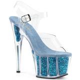Turkisblå glimmer 18 cm Pleaser ADORE-708G poledance sko