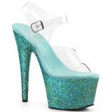 Turkisblå glimmer 18 cm Pleaser ADORE-708LG poledance sko