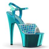 Turkisblå glimmer 18 cm Pleaser ADORE-709MMRS poledance sandaler
