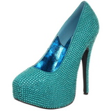 Turquoise Rhinestone 14,5 cm TEEZE-06R Platform Pumps Women Shoes