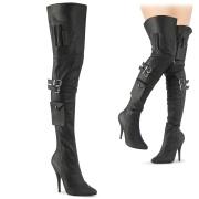 Vegan 13 cm SEDUCE-3019 high heeled thigh high boots with buckles