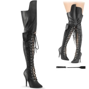 Vegan 13 cm SEDUCE-3082 high heeled thigh high boots with lace up