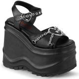 Vegan 15 cm Demonia WAVE-09 lolita plateau sandaler med kilehæle