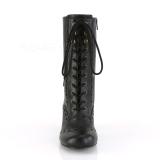 Vegan 7,5 cm VIVIKA-200 Victorian ankelstøvler med snørebånd