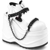 Vegan Hvid 15 cm Demonia WAVE-20 lolita plateau sandaler med kilehæle