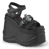 Vegan Sort 15 cm Demonia WAVE-13 lolita plateau sandaler med kilehæle