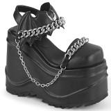 Vegan Sort 15 cm Demonia WAVE-20 lolita plateau sandaler med kilehæle