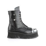 Vegan læder GRAVEDIGGER-10 ankelstøvler med stål tå-kappe - demonia militærstøvler