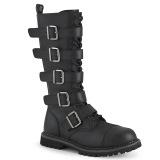 Vegan læder RIOT-18BK støvler med stål tå-kappe - demonia militærstøvler