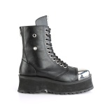 Vegan leather GRAVEDIGGER-10 demonia ankle boots - steel toe combat boots