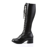 Vinyl snørestøvler 5 cm - 70 erne hippie disco gogo knæhøje boots