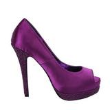 Violet Satin 13,5 cm BELLA-12R Rhinestone Platform Pumps Shoes