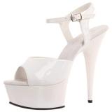 White 15 cm DELIGHT-609 platform pleaser high heels shoes