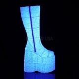 White Glitter 18 cm STACK-301G demonia boots - unisex cyberpunk boots