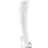 White Leatherette 15 cm DELIGHT-3019 Platform Thigh High Boots