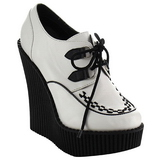 White Leatherette CREEPER-302 creepers wedges women shoes
